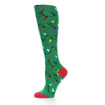 Image of Green Christmas Lights Women's Knee High Socks (side-2-11)