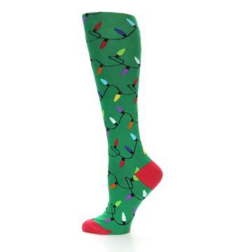 Image of Green Christmas Lights Women's Knee High Socks (side-2-12)