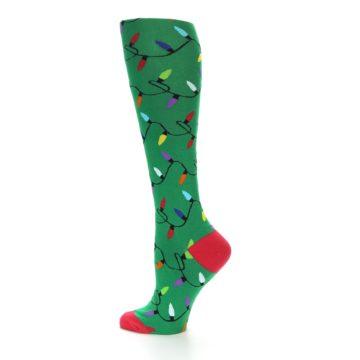 Image of Green Christmas Lights Women's Knee High Socks (side-2-13)