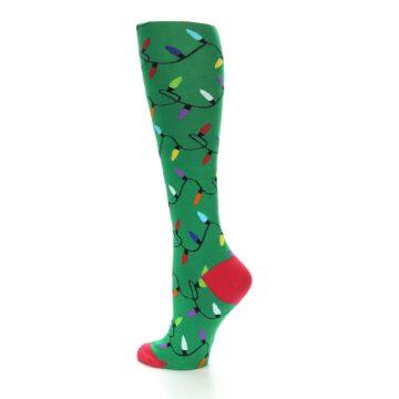 Image of Green Christmas Lights Women's Knee High Socks (side-2-back-14)