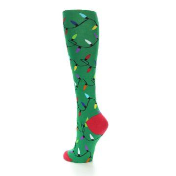 Image of Green Christmas Lights Women's Knee High Socks (side-2-back-15)