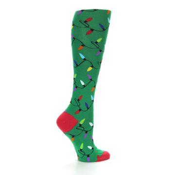 Image of Green Christmas Lights Women's Knee High Socks (side-1-24)