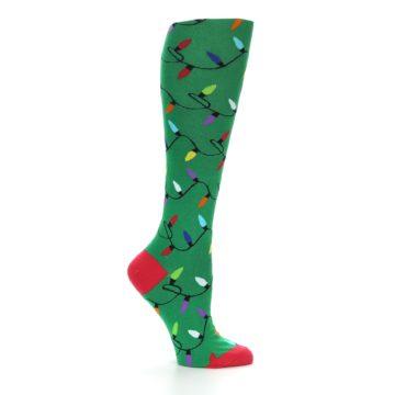 Image of Green Christmas Lights Women's Knee High Socks (side-1-25)