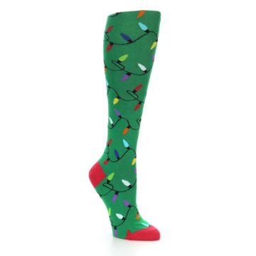 Image of Green Christmas Lights Women's Knee High Socks (side-1-27)