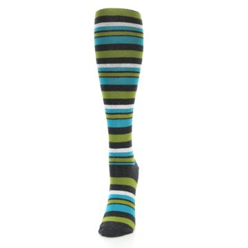Image of Grey Green Blue Stripes Women's Knee High Socks (side-2-front-06)