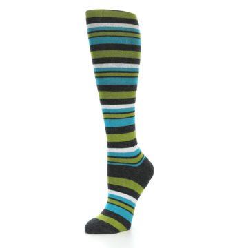 Image of Grey Green Blue Stripes Women's Knee High Socks (side-2-09)