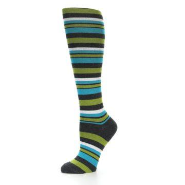 Image of Grey Green Blue Stripes Women's Knee High Socks (side-2-10)