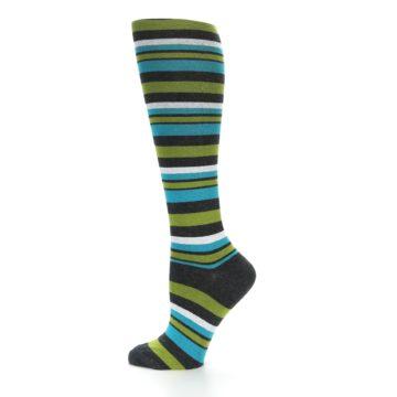 Image of Grey Green Blue Stripes Women's Knee High Socks (side-2-12)