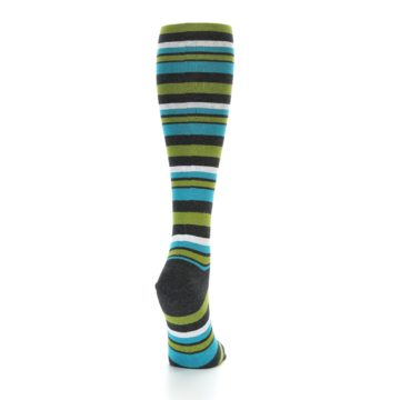 Image of Grey Green Blue Stripes Women's Knee High Socks (side-1-back-20)