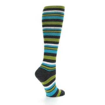 Image of Grey Green Blue Stripes Women's Knee High Socks (side-1-23)