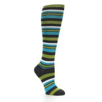 Image of Grey Green Blue Stripes Women's Knee High Socks (side-1-26)