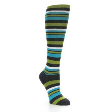 Image of Grey Green Blue Stripes Women's Knee High Socks (side-1-27)