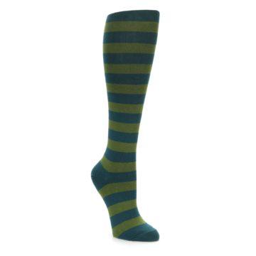 Teal Olive Green Stripe Knee Socks