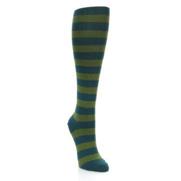 Image of Teal Olive Stripes Women's Knee High Socks (side-1-front-02)