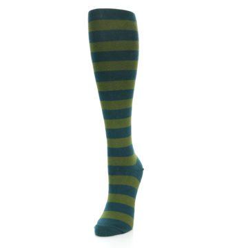 Image of Teal Olive Stripes Women's Knee High Socks (side-2-front-07)