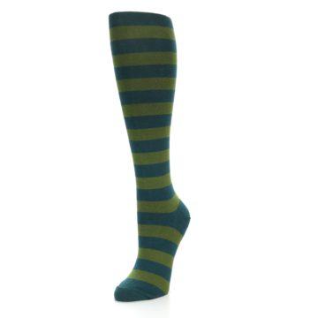 Image of Teal Olive Stripes Women's Knee High Socks (side-2-front-08)