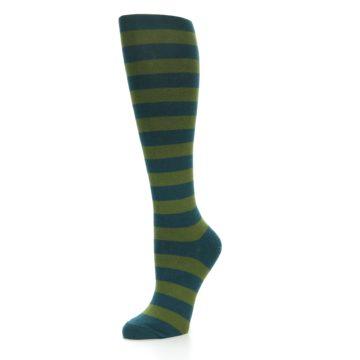 Image of Teal Olive Stripes Women's Knee High Socks (side-2-09)