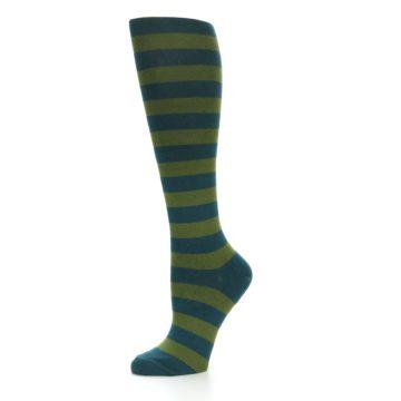 Image of Teal Olive Stripes Women's Knee High Socks (side-2-10)