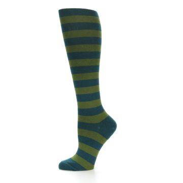 Image of Teal Olive Stripes Women's Knee High Socks (side-2-11)