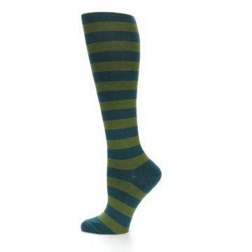 Image of Teal Olive Stripes Women's Knee High Socks (side-2-12)