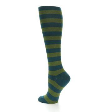 Image of Teal Olive Stripes Women's Knee High Socks (side-2-back-14)