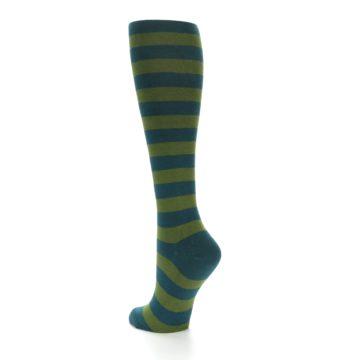 Image of Teal Olive Stripes Women's Knee High Socks (side-2-back-15)