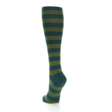 Image of Teal Olive Stripes Women's Knee High Socks (side-2-back-16)