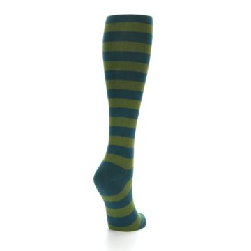 Image of Teal Olive Stripes Women's Knee High Socks (side-1-back-21)