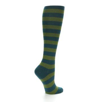 Image of Teal Olive Stripes Women's Knee High Socks (side-1-23)