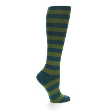 Image of Teal Olive Stripes Women's Knee High Socks (side-1-24)