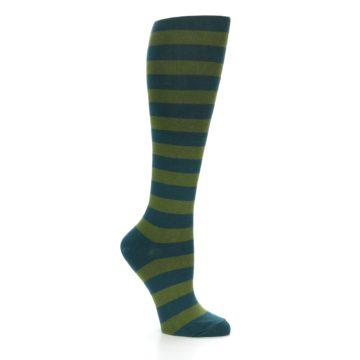 Image of Teal Olive Stripes Women's Knee High Socks (side-1-26)