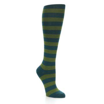 Image of Teal Olive Stripes Women's Knee High Socks (side-1-27)
