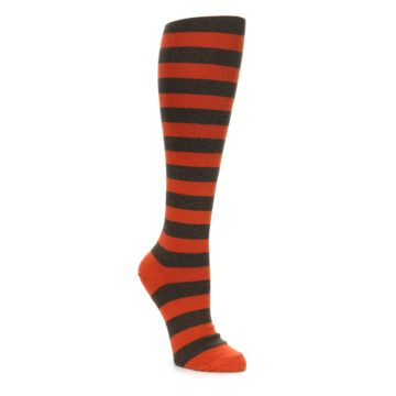 Brown Orange Stripe Knee High Socks