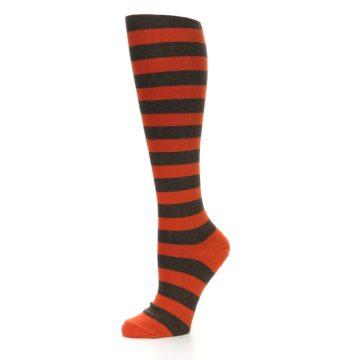 Image of Brown Orange Stripes Women's Knee High Socks (side-2-10)