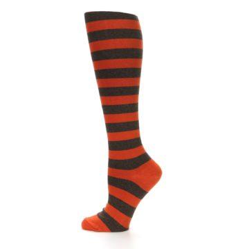 Image of Brown Orange Stripes Women's Knee High Socks (side-2-12)