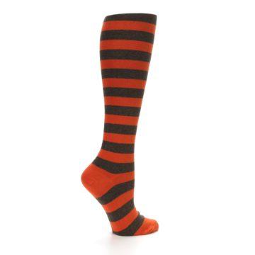 Image of Brown Orange Stripes Women's Knee High Socks (side-1-24)