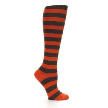 Image of Brown Orange Stripes Women's Knee High Socks (side-1-25)
