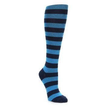 Turquoise Navy Stripe Knee High Socks for Women