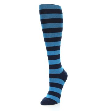 Image of Turquoise Navy Stripes Women's Knee High Socks (side-2-front-08)