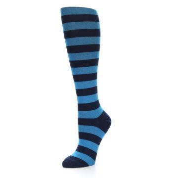 Image of Turquoise Navy Stripes Women's Knee High Socks (side-2-09)