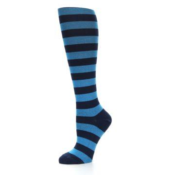 Image of Turquoise Navy Stripes Women's Knee High Socks (side-2-10)