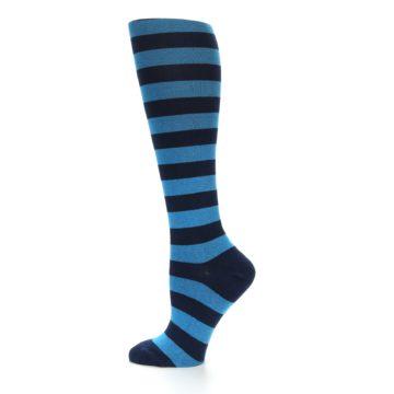 Image of Turquoise Navy Stripes Women's Knee High Socks (side-2-12)