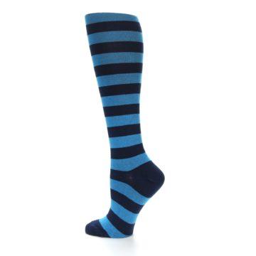 Image of Turquoise Navy Stripes Women's Knee High Socks (side-2-13)
