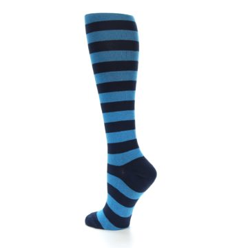 Image of Turquoise Navy Stripes Women's Knee High Socks (side-2-back-14)
