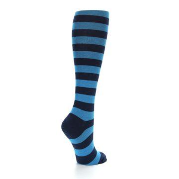 Image of Turquoise Navy Stripes Women's Knee High Socks (side-1-back-22)