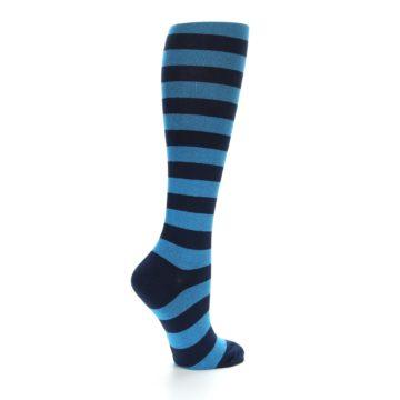 Image of Turquoise Navy Stripes Women's Knee High Socks (side-1-23)