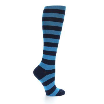 Image of Turquoise Navy Stripes Women's Knee High Socks (side-1-24)