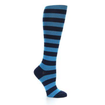 Image of Turquoise Navy Stripes Women's Knee High Socks (side-1-25)