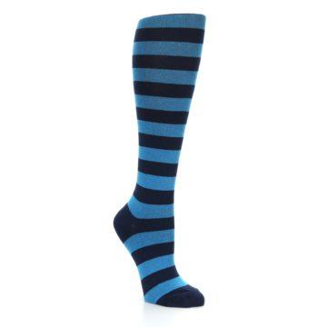Image of Turquoise Navy Stripes Women's Knee High Socks (side-1-27)