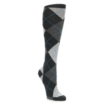 Charcoal Grey Argyle Knee Socks for Women